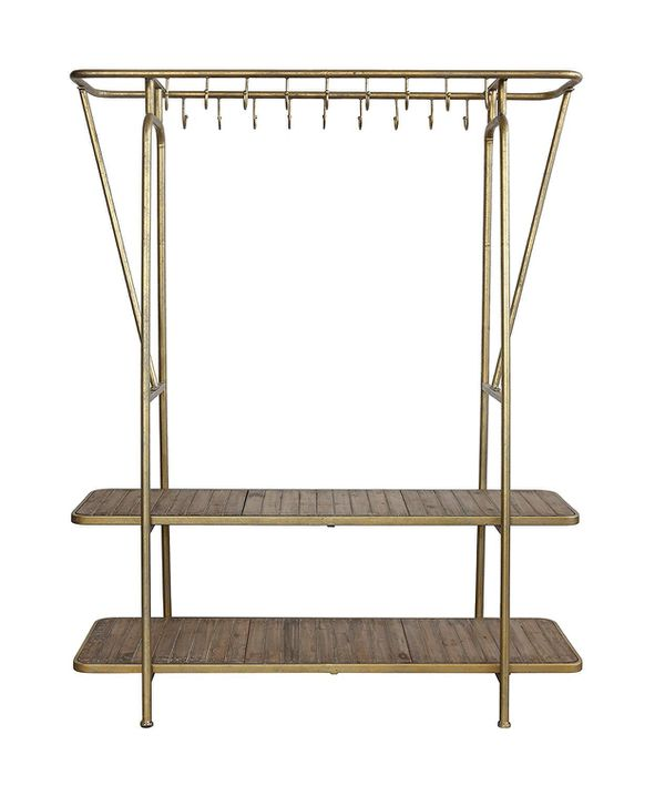 Brass 2 Shelf Hook Rack