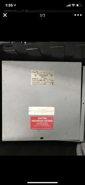 Phase converter single phase in, 3 phase out for Sale in Mesa, AZ