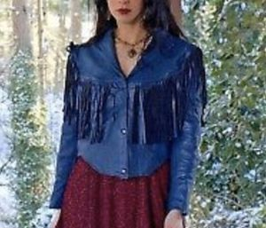 VTG Boho Hippie Gypsy Festival Dark Blue Fringe Leather Jacket Made in Mexico for Sale in Portland, OR