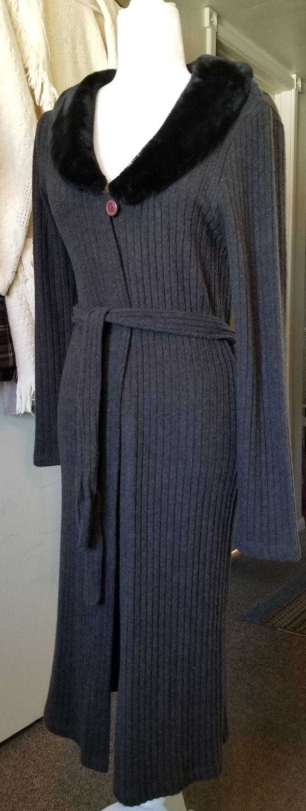 Long black sweater coat