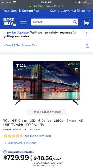 """TCL 65"""" LED Y Series 2160p smart TV HD roku for Sale in Fremont, CA"""