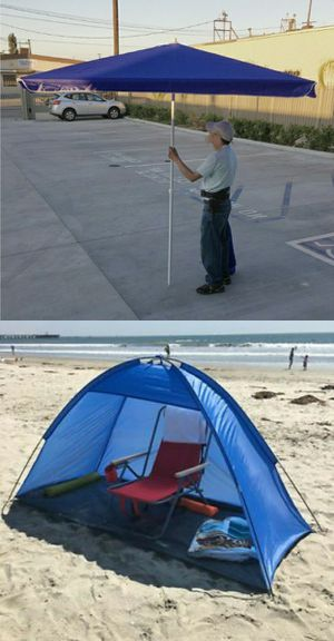 Brand new 7x3 feet beach tent and 6x6 feet umbrella combo sun shade canopy for Sale in Whittier, CA