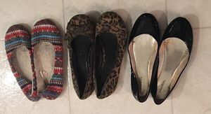 3 pair of flat shoes size 6.5 / 7 for Sale in Smyrna, TN