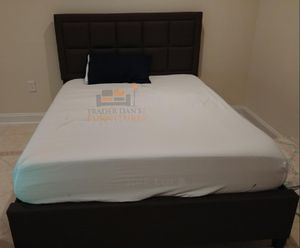 Brand New Queen Size Brown Linen Upholstered Platform Bed Frame ONLY for Sale in Silver Spring, MD