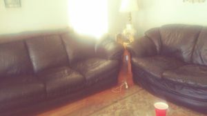 Black leather sectional used fits comfortable. for Sale in Lincoln Park, MI