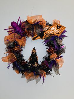 Halloween Wreath Decoration Witch And Spider Theme for Sale in Southern View,  IL