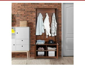 Hall Tree Storage Bench Entry Stand Coat Hat Rack with Shelf & 3 Hooks Organizer for Sale in El Monte, CA