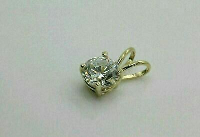 """1.00 Ct Round Cut Solitaire 14k Yellow Gold Over Diamond Pendant 18"""" Chain Free"""