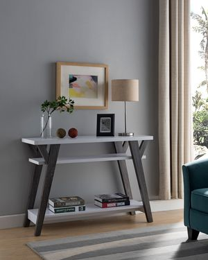 June Console Table, White and Distressed Grey Color for Sale in Santa Ana, CA