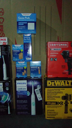 """3/8 craftsman impact wrench, 1/2"""" DeWalt Hammer drill, 3 sonicare sets, boxes of Band-Aids and Tylenol for Sale in Seattle, WA"""