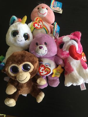 3 Ty Beanie Boo And 2 Care Bears Collectables. for Sale in Santa Monica, CA