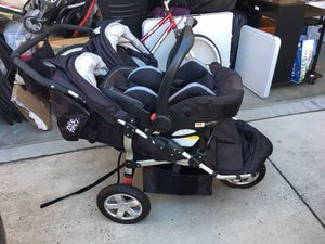 Tike tech double w infant chair running stroller comes with base unit for car also for Sale in City of Industry, CA