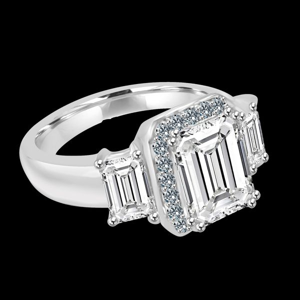 2 CT. Emerald Cut Center with two side baguettes Simulated Diamond - Diamond Veneer Vintage Sterling Silver Ring 635R72227