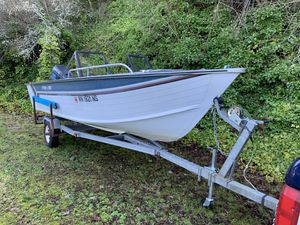 17' blue fin boat 1987, Calkins trailer 1993, 85 hp force outboard for Sale in Coupeville, WA