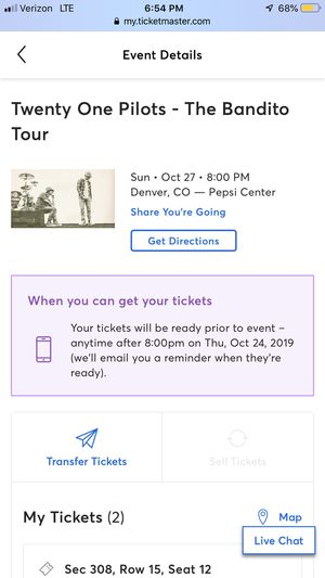 21 Pilots-2 Tickets for Pepsi Center Oct 27 for Sale in Loveland, CO