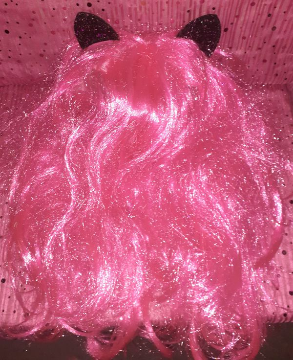 Pink Cat Wig w/Cat Ears & Eyelashes