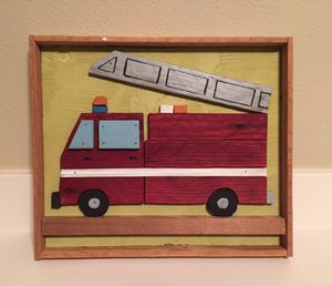 Reclaimed wood wall art firetruck for Sale in Portland, OR