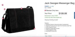 Jack George's Messenger Bag - Black Leather for Sale in Chula Vista, CA