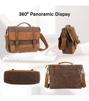 Laptop Messenger Bags 14 inch, Water Resistant Leather Canvas Briefcase Satchel Shoulder for Sale in Whittier, CA