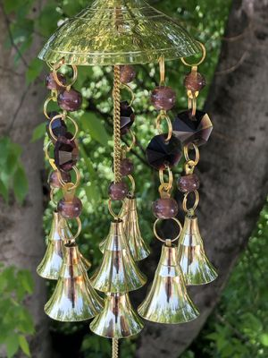 Purple Sahasrara Crown Chakra Translucent Beads & Brass Bells Dome Wind Chimes for Sale in Nashville, TN