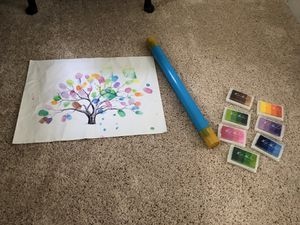 "**BRAND NEW, STILL IN WRAPPING** Wedding Guest Thumbprint Register Canvas of Tree 16""W x 12""H.  Included in collection are 7 multicolored ink pads. * for Sale in Wake Forest, NC"
