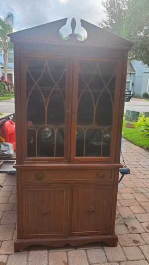 Tall Beautiful Wood Curio China Cabinet Antique for Sale in Windermere, FL