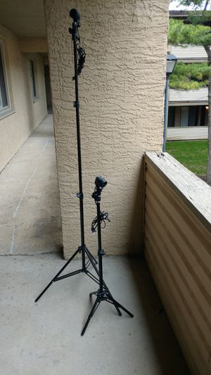 Two photo light stands with light fixtures for portraits for Sale in Columbus, OH