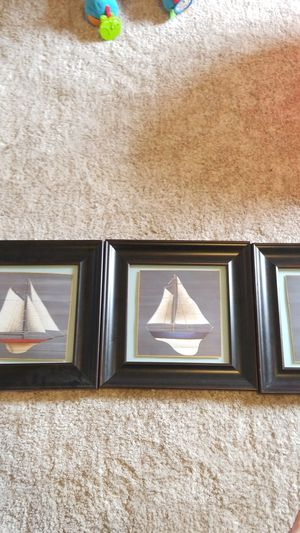 Set of 3 nautical sailboat framed art for Sale in Roanoke, TX