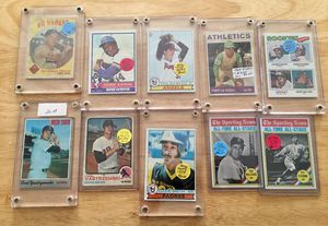 (10) Ten TOPPS 1950-1970's BASEBALL CARDS, HANK AARON, NOLAN RYAN, OZZIE SMITH, CARL YAS, for Sale in Providence, RI