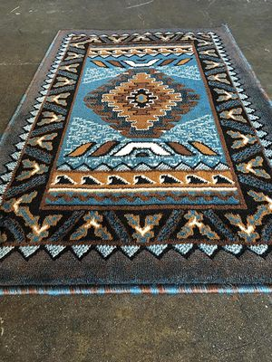 Blue color door mat size area rug brand new native design for Sale in Salem, OR