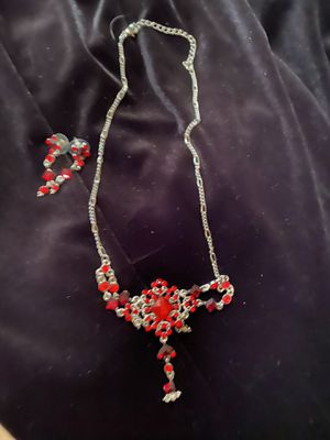 Red rhinestone/rhinestone necklace- earrings set all for $25 for Sale in Fresno, CA