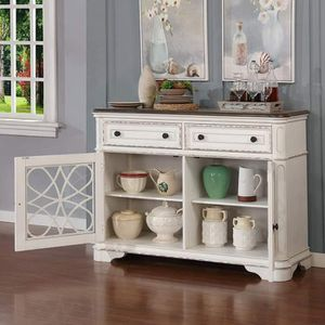 TWO TONE WHITE WASH WALNUT FINISH SERVER SIDEBOARD STORAGE CABINET CONSOLE TABLE / APARADO SERVIDOR GABETA MUEBLES for Sale in Moreno Valley, CA
