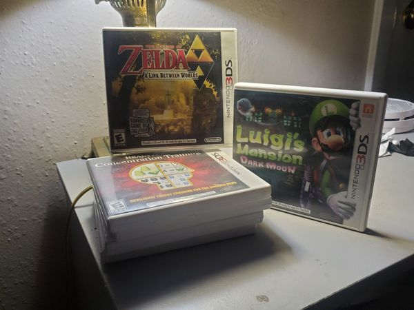 Nintendo Ds/3ds games. Luigi's Mansion, Final Fantasy, Zelda.