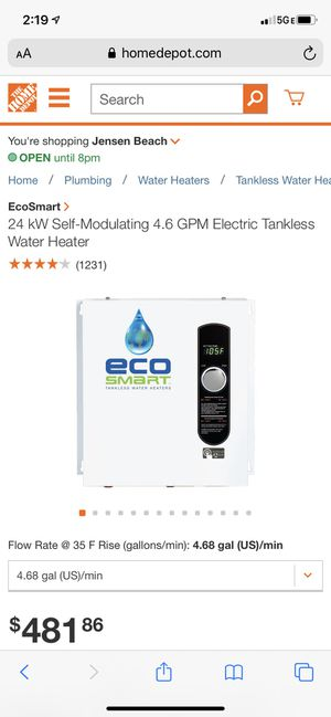 Tank less electric water heater for Sale in Port St. Lucie, FL
