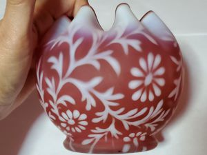 Fenton Cranberry Glass Daisy and Fern Crimped Frosted Bowl for Sale in Portland, OR