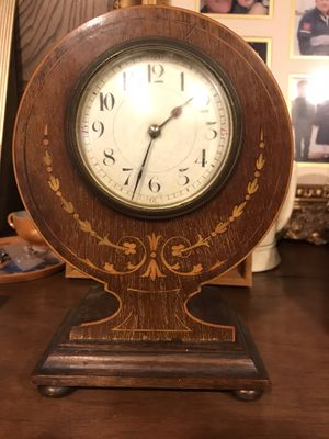 Antique table clock with inlaid wood for Sale in Fairfax, VA