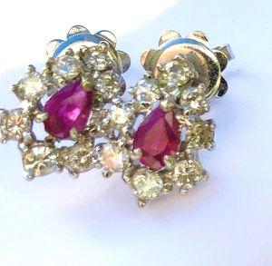 Art Deco .18K .47 CT Diamond Earrings set with Pear Rubies for Sale in Beaverton, OR
