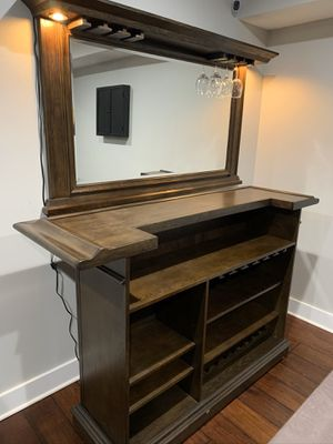 American Heritage Paxton Billiard Collection - Wood bar with lights, wine rack, and 4 bar stools (LIKE NEW) for Sale in Arlington, VA