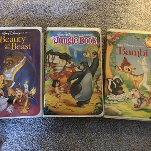 RARE - Disney Bambi, Beauty And The Beast, and The Jungle Book VHS (Black Diamond) for Sale in Damascus, OR