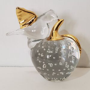 Vintage Clear Art Glass Apple Bird Gold Highlight Paperweight for Sale in Brookfield, IL