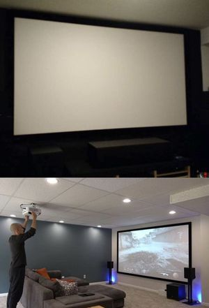 New 120 inches 16:9 ratio PVC fabric roll up projector projection screen with velcro mounts included for Sale in Whittier, CA