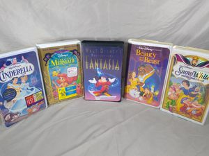 Vintage Lot of 5 VHS Tapes Walt Disney The Little Mermaid Cinderella Fantasia for Sale in Cleveland, OH