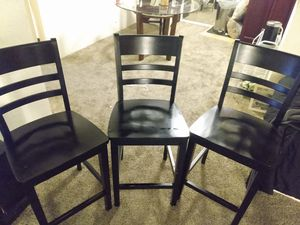 3 Black Wooden Chairs for Sale in Phoenix, AZ