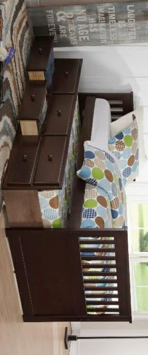 Espresso Twin Captain Bed with Storage Drawers Twin Trundle for Sale in Katy, TX
