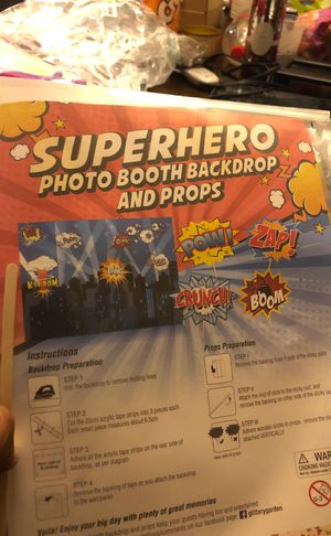 Super hero photo booth backdrop and props for Sale in Anaheim, CA