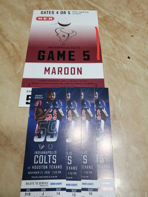 Texans vs Colts Thursday 11/21/19 for Sale in Cypress, TX