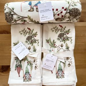Pottery Barn Forest Gnome Embroidered Cotton/Linen Table Throw and 8 Napkins - NWT Retail $209 for Sale in Alexandria, VA