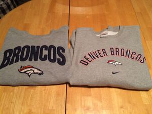 2 large Denver Broncos sweatshirts Puma and Nike football for Sale in Denver, CO