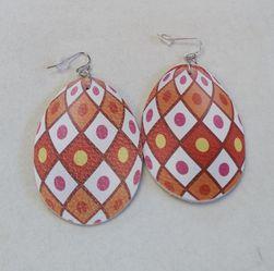 Orange Diamond Pattern Easter Egg Earrings for Sale in Norwalk,  CA