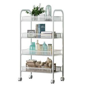 Renzhongren 4-Shelf D25.8cm W44.5cm H83.8cm White Steel Storage Rack Basket Shelving Unit Trolley Cabinet Kitchen Island with Caster Wheels WJM4685-4W for Sale in Gastonia, NC